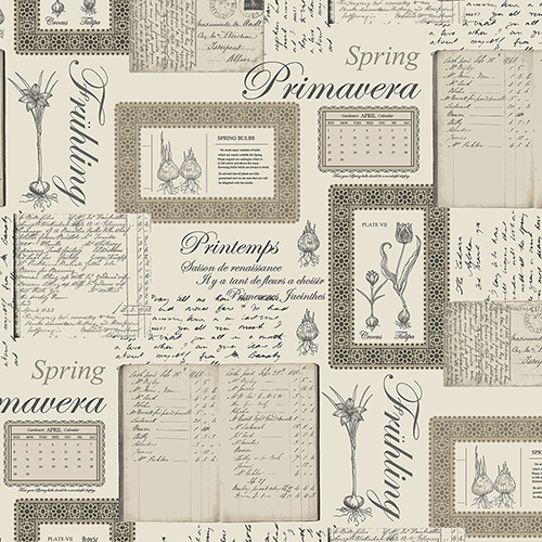 Norwall Wallcoverings Printemps Script Beige and Black Wallpaper - SAMPLE SWATCH ONLY