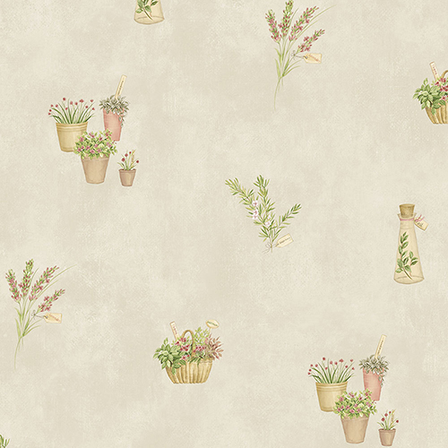 Norwall Wallcoverings Fresh Herbs Red, Cream and Green Wallpaper - SAMPLE SWATCH ONLY
