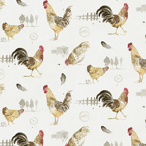 Fresh Chicken Red, Yellow and Brown Wallpaper