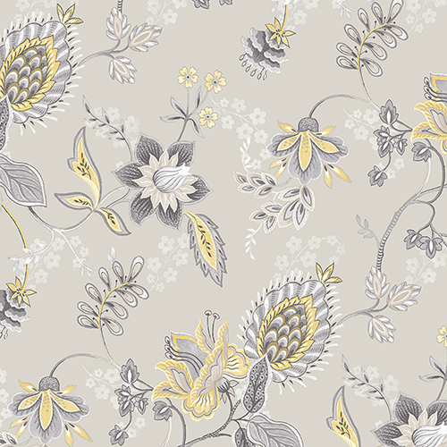 Jacobean Floral Grey and Yellow Wallpaper - SAMPLE SWATCH ONLY