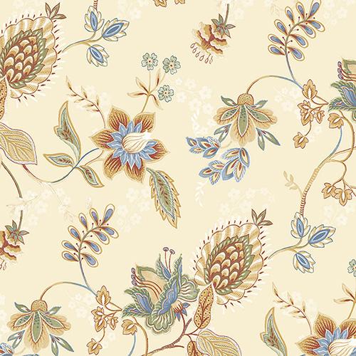 Jacobean Floral Blue, Ochre, Red and Green Wallpaper