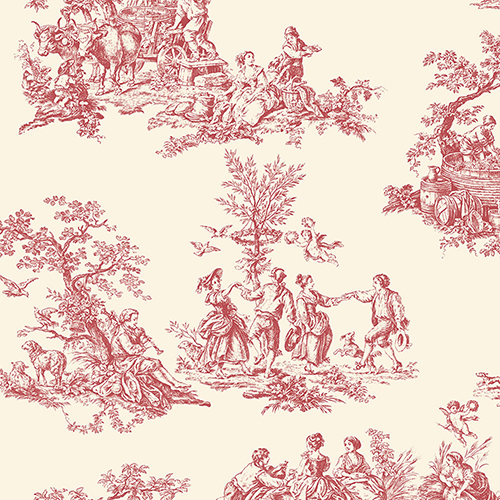 Romantic Toile Red and Cream Wallpaper