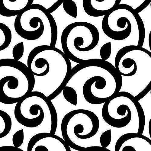 Black and White Curling Leaf Wallpaper