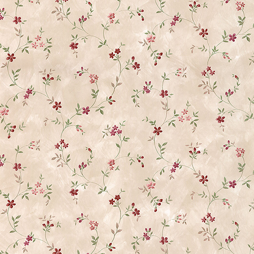 Norwall Wallcoverings Seed Trail Beige, Pink and Red Floral Wallpaper - SAMPLE SWATCH ONLY
