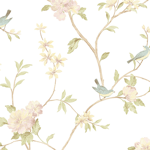 Norwall Wallcoverings Floral Bird Sidewall Pink, Yellow and Aqua Wallpaper - SAMPLE SWATCH ONLY
