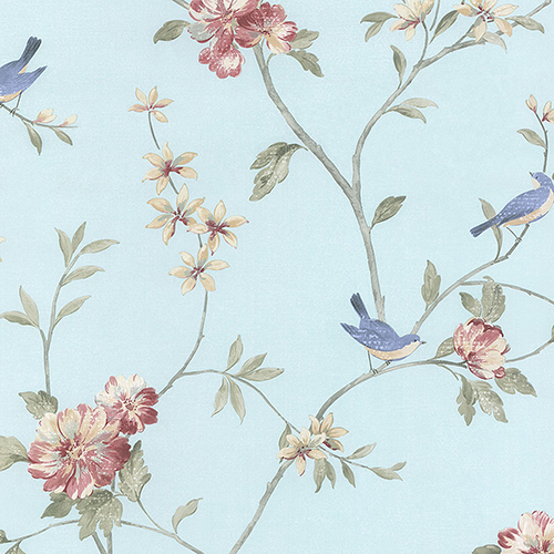 Floral Bird Sidewall Turquoise, Pink and Beige Wallpaper
