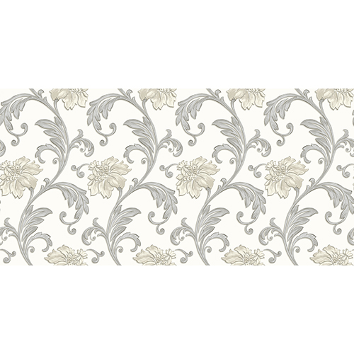 White, Grey and Metallic Silver Floral Scroll Wallpaper