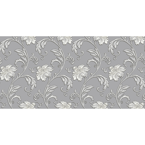 Norwall Wallcoverings Grey And Metallic Silver Floral Scroll