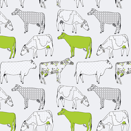 Cow Parade Green and Black Wallpaper