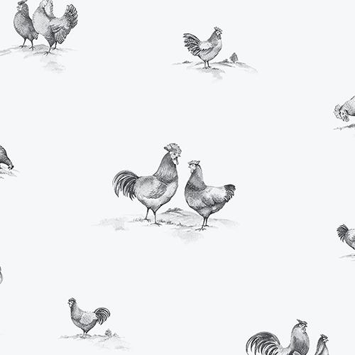 Delft Chicken Black and White Wallpaper