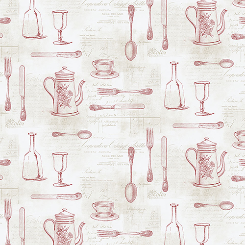 Cutlery Sidewall Red and Tan Wallpaper