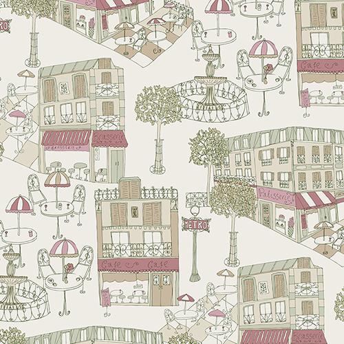 Café Cream and Red Wallpaper