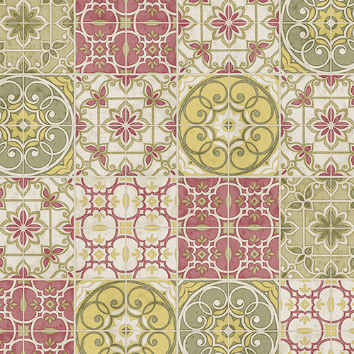 Norwall Wallcoverings Yellow, Green and Red Portuguese Tiles Wallpaper