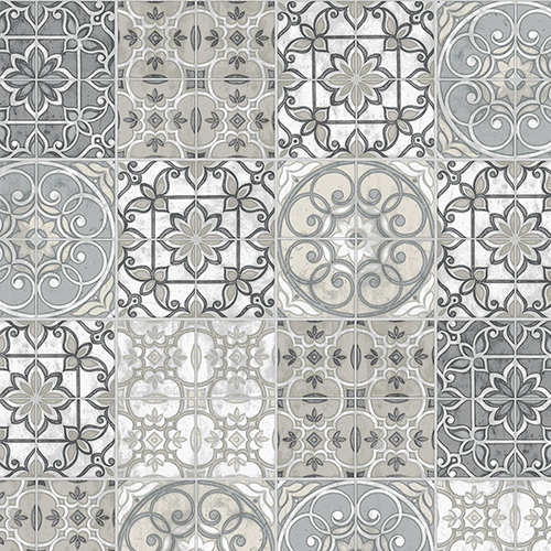 Grey, Black and Beige Portuguese Tiles Wallpaper