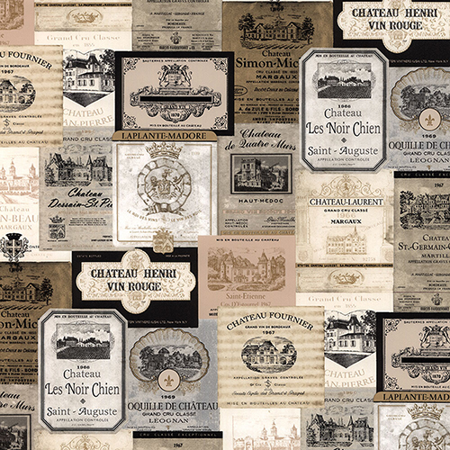 Beige and Black Wine Labels Wallpaper - SAMPLE SWATCH ONLY