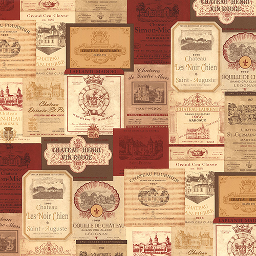 Red, Cream and Orange Wine Labels Wallpaper