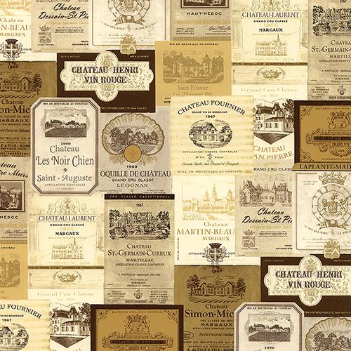 Cream, Beige and Metallic Gold Wine Labels Wallpaper