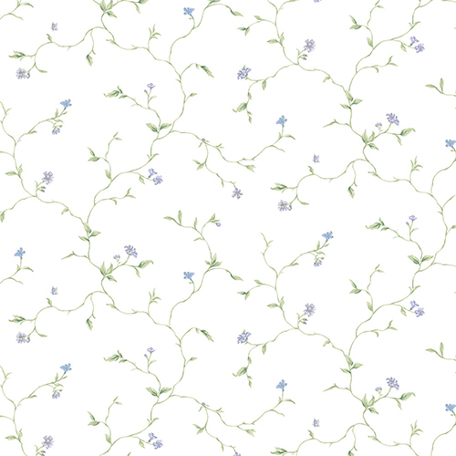 Small Trail Purple, Blue and Green Floral Wallpaper - SAMPLE SWATCH ONLY