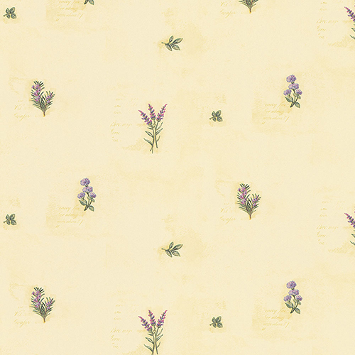 Herb Flowers Sidewall Yellow and Green Wallpaper