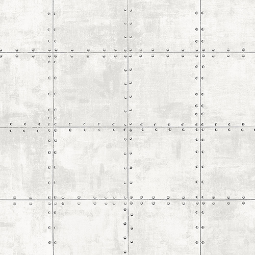White and Grey Steel Tile Wallpaper