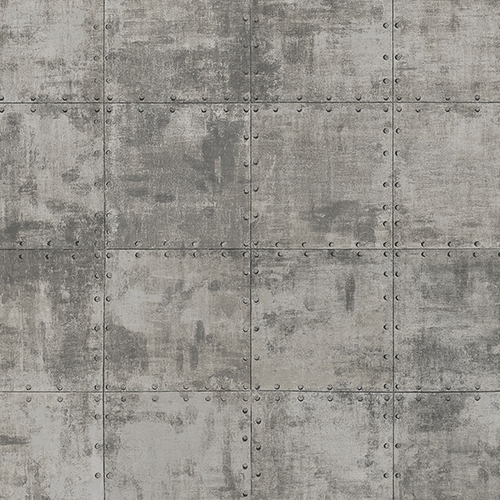 Metallic Silver and Black Steel Tile Wallpaper - SAMPLE SWATCH ONLY