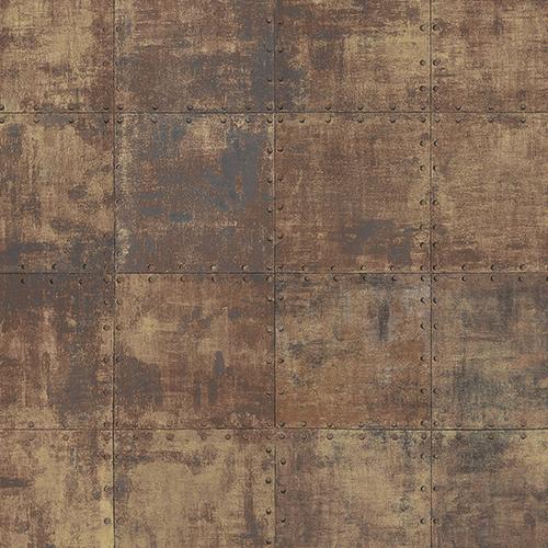 Norwall Wallcoverings Metallic Gold and Brown Steel Tile Wallpaper
