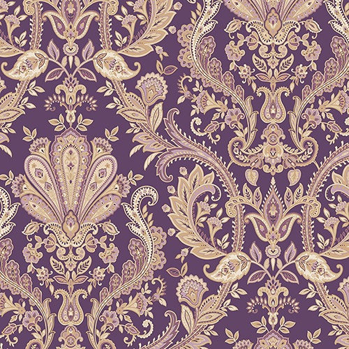 Jacobean Paisley Purple, Metallic Gold and Mauve Wallpaper - SAMPLE SWATCH ONLY