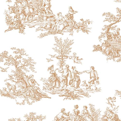 Romantic Toile Metallic Gold and White Wallpaper
