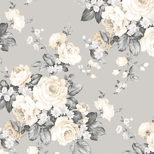 Grand Floral Grey and Beige Wallpaper