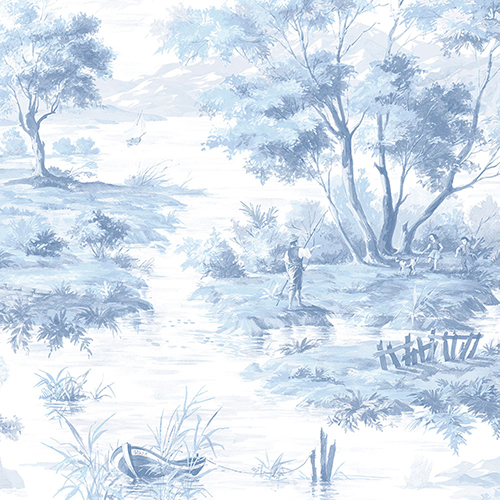 La Campagne Light Blue and White Wallpaper
