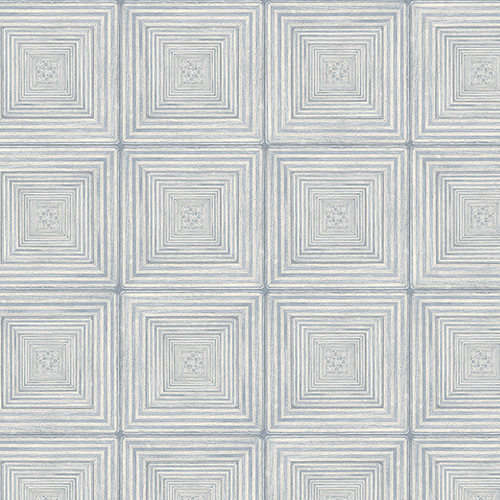 Norwall Wallcoverings Parquet Blue and Ivory Wallpaper - SAMPLE SWATCH ONLY