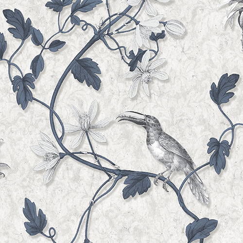 Toucan Toile Navy and Grey Wallpaper