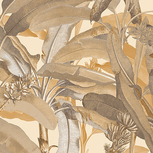 Ochre Polynesian Leaves Wallpaper - SAMPLE SWATCH ONLY