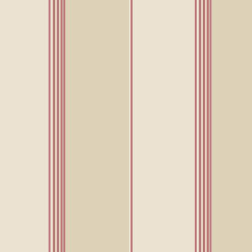 Pure Stripe Red, Cream and Tan Wallpaper