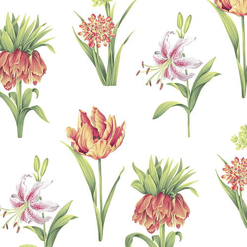 Botanical Floral Red and Green Wallpaper