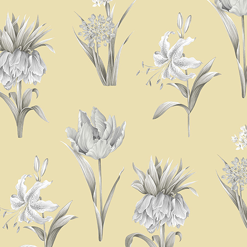 Botanical Floral Yellow and Grey Wallpaper