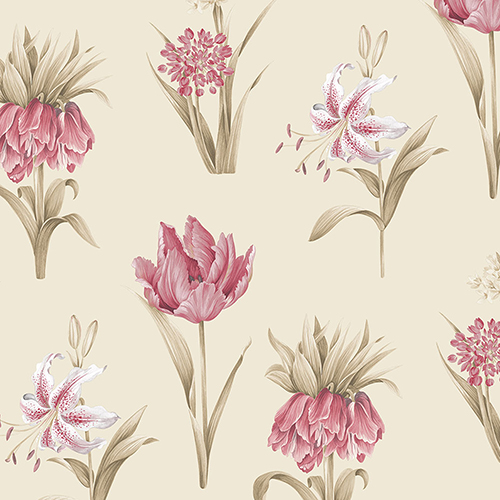 Norwall Wallcoverings Botanical Floral Pink and Cream Wallpaper