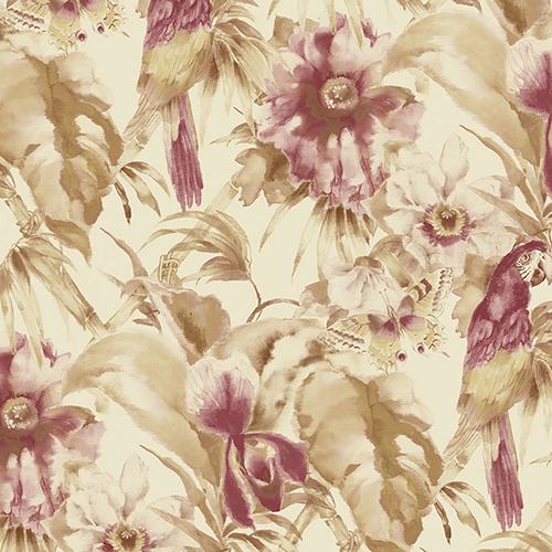 Norwall Wallcoverings Palm Beach Parrot Red and Cream Floral Wallpaper - SAMPLE SWATCH ONLY