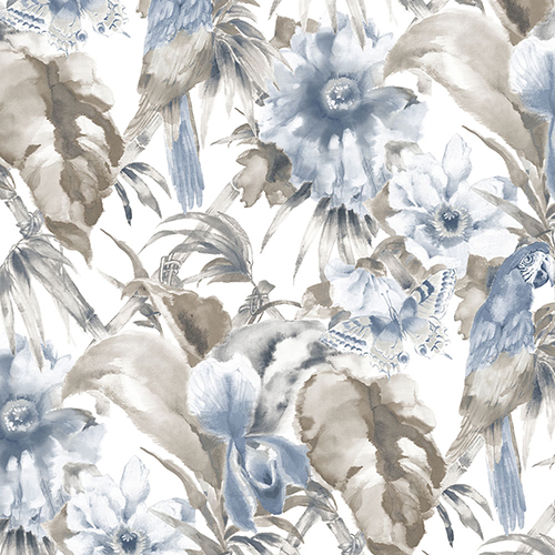 Palm Beach Parrot Blue and Grey Floral Wallpaper