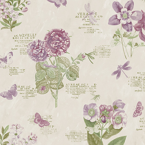Botany Floral Taupe and Purple Wallpaper