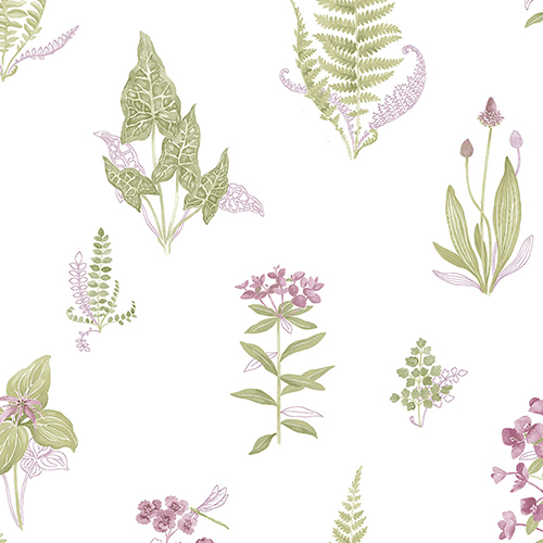 Pink and Green Ferns Wallpaper - SAMPLE SWATCH ONLY