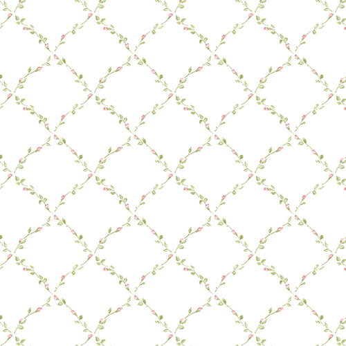 Red Rose Trellis Pink and Green Floral Wallpaper