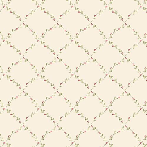 Red Rose Trellis Cream and Red Floral Wallpaper