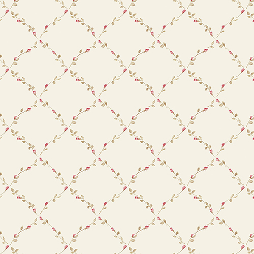 Red Rose Trellis Beige, Red and Green Floral Wallpaper