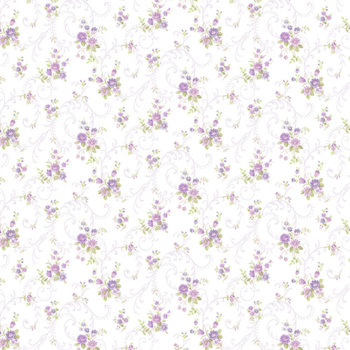 Norwall Wallcoverings Rhiannon Trail Purple and Pink Floral Wallpaper - SAMPLE SWATCH ONLY
