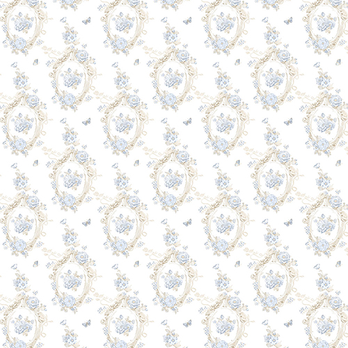 Cameo Blue and Beige Wallpaper