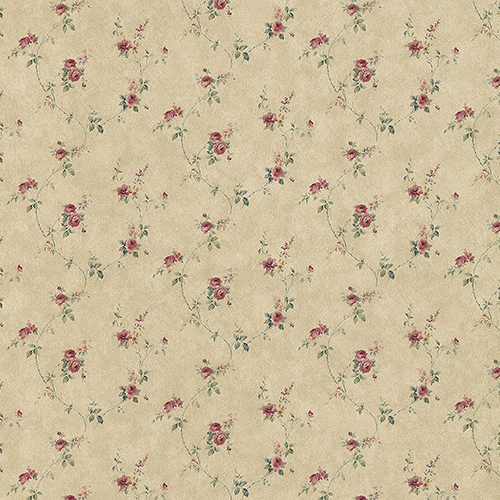 Laura Trail Tan, Red and Green Floral Wallpaper - SAMPLE SWATCH ONLY