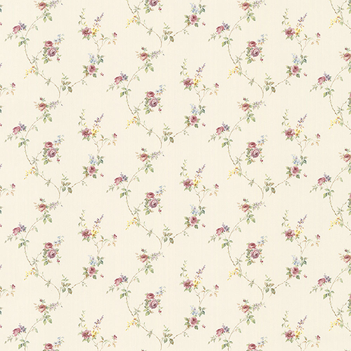 Laura Trail Cream, Pink and Yellow Floral Wallpaper - SAMPLE SWATCH ONLY