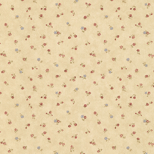Shabby Rose Buds Tan, Pink and Blue Wallpaper - SAMPLE SWATCH ONLY