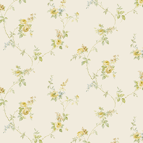 White Wedding Trail Yellow, Green and Blue Floral Wallpaper - SAMPLE SWATCH ONLY